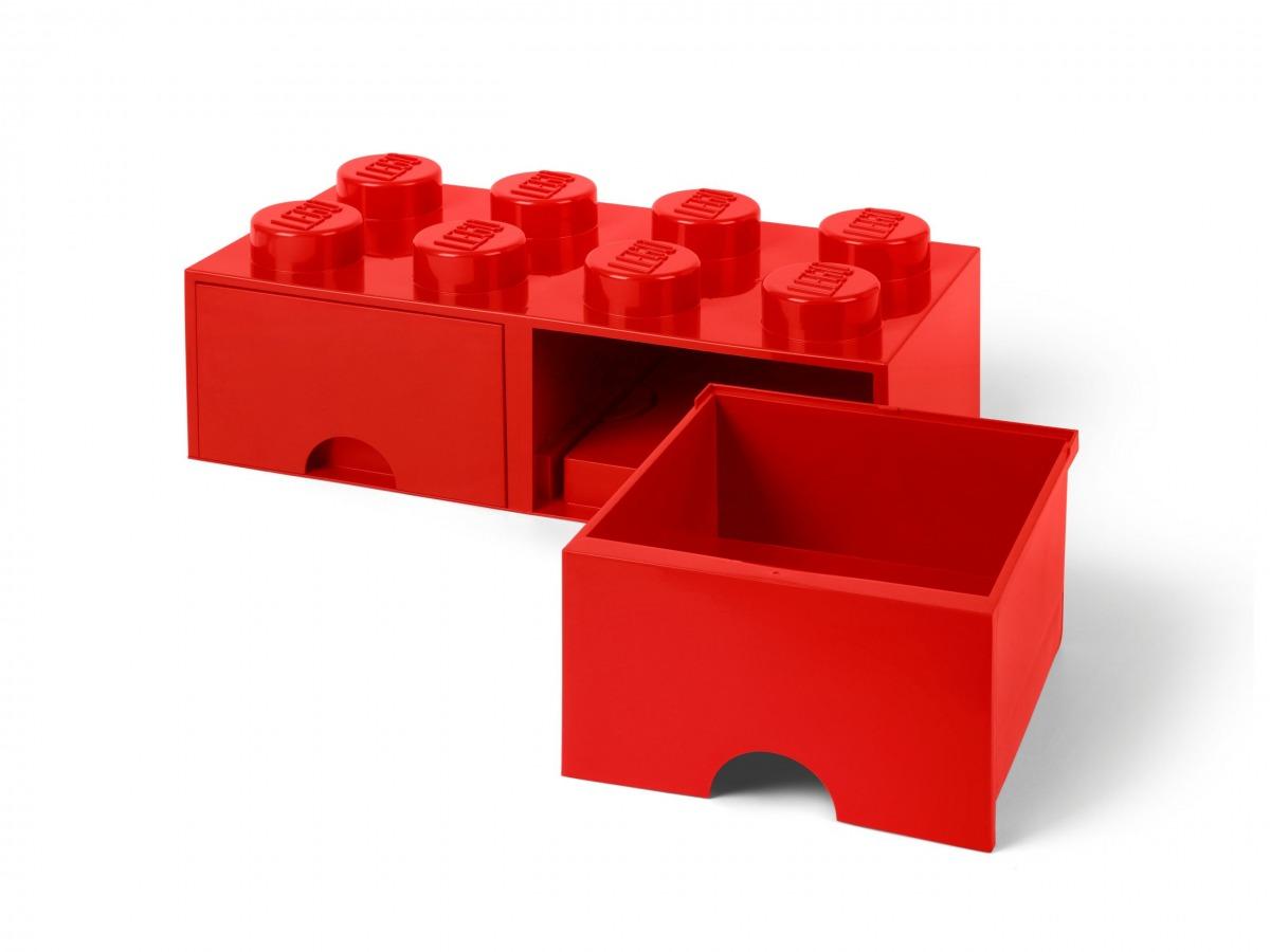 lego 5006131 aufbewahrungsstein mit schubfachern und 8 noppen in rot scaled